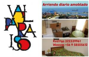 arriendo diario apartamento amoblado full centrico, valparaiso